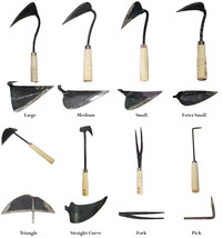 Korean Gardening Hand Plow Hoe Ho-mi EZ Digger Tools 8 Blade Types Full ... - $79.95