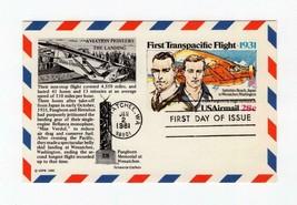 FDC AIRMAIL POSTCARD-FIRST TRANSPACIFIC FLIGHT-1981 ARISTOCRAT CACHET  BK14 - $0.98