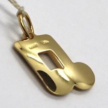 Yellow Gold Pendant White 750 18K, Musical Note, Music, Made in Italy image 3
