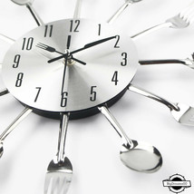 Modern Kitchen Wall Clock Sliver Cutlery Clocks Spoon Fork Creative Wall... - $22.22+