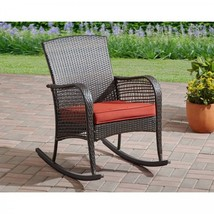 Wicker Patio Rocker Chair Outdoor Relaxing Garden Comfortable Cushioned ... - $98.99