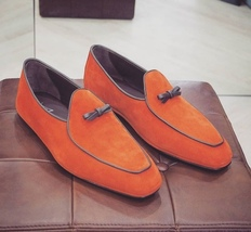 Orange Moccasin Superior Leather Vintage Handcrafted Men Party Wear Shoes - $139.90+