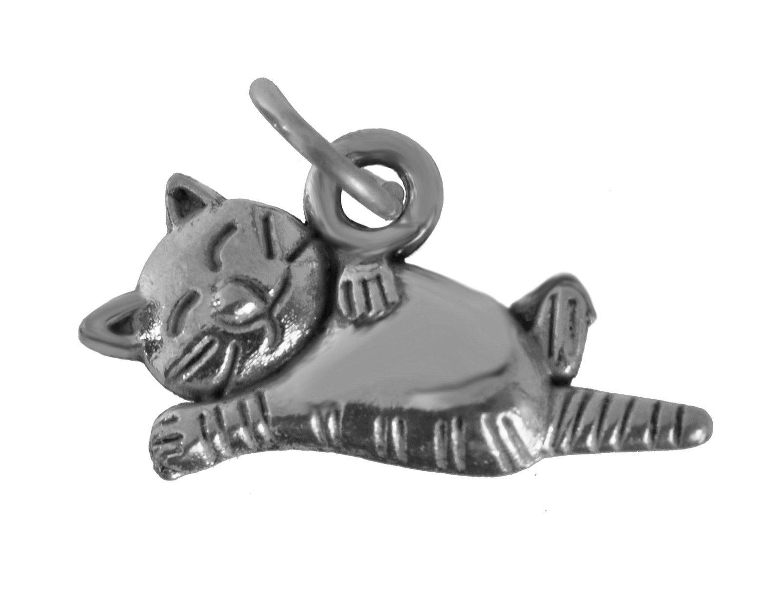 NICE Sterling Silver Cartoon Sleeping Fat Cat Vacation relax unwind Lazy Kitty c