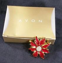 Avon Autumn Dreams Pin Brooch Red Gold Tone Clear Rhinestones 1997  - $14.53