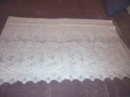 "Vintage Sears White Valance Curtain 58"" X 19"" Rose Floral Shabby Cottage Decor - $16.78"