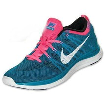 NIKE Flyknit One SNEAKERS SHOES Mens 13 BLUE PINK Athletic TRAINERS Squa... - $22.27