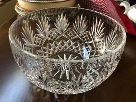 VTG Mid Century Large Cut Clear crystal bowl Fan pattern 8.5 x 4.75 - $88.11