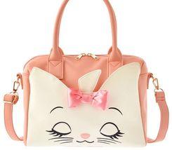 Disney Store Arist Cat Marie Face Ribbon Boston Bag Shoulder bag tote pink - $115.00