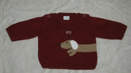 "Gymboree ""Doggy Wants a Bone"" Vintage Dachshund Puppy Dog Red Sweater, 0-3 mos. - $14.84"