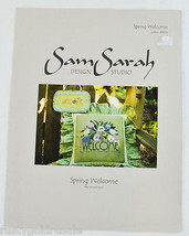 Spring Welcome Sign Blue Bird by Sam Sarah Design Counted Cross Stitch P... - $1.99