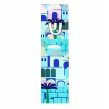 Judaica Car Mezuzah Case Perspex Blue Jerusalem Old City View 4 cm