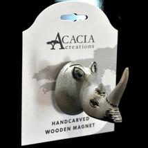Acacia Creations Hand Carved Jacaranda Wood Safari Rhinoceros Rhino Magnet image 2