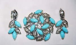 Vintage Bogoff jewelry set blue thermoset rhinestone pin brooch clip ear... - $24.45