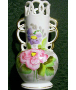 "Vintage UCAGCO Occupied Japan Vase with Cutwork Rim Hand-Painted 6""H - $25.00"