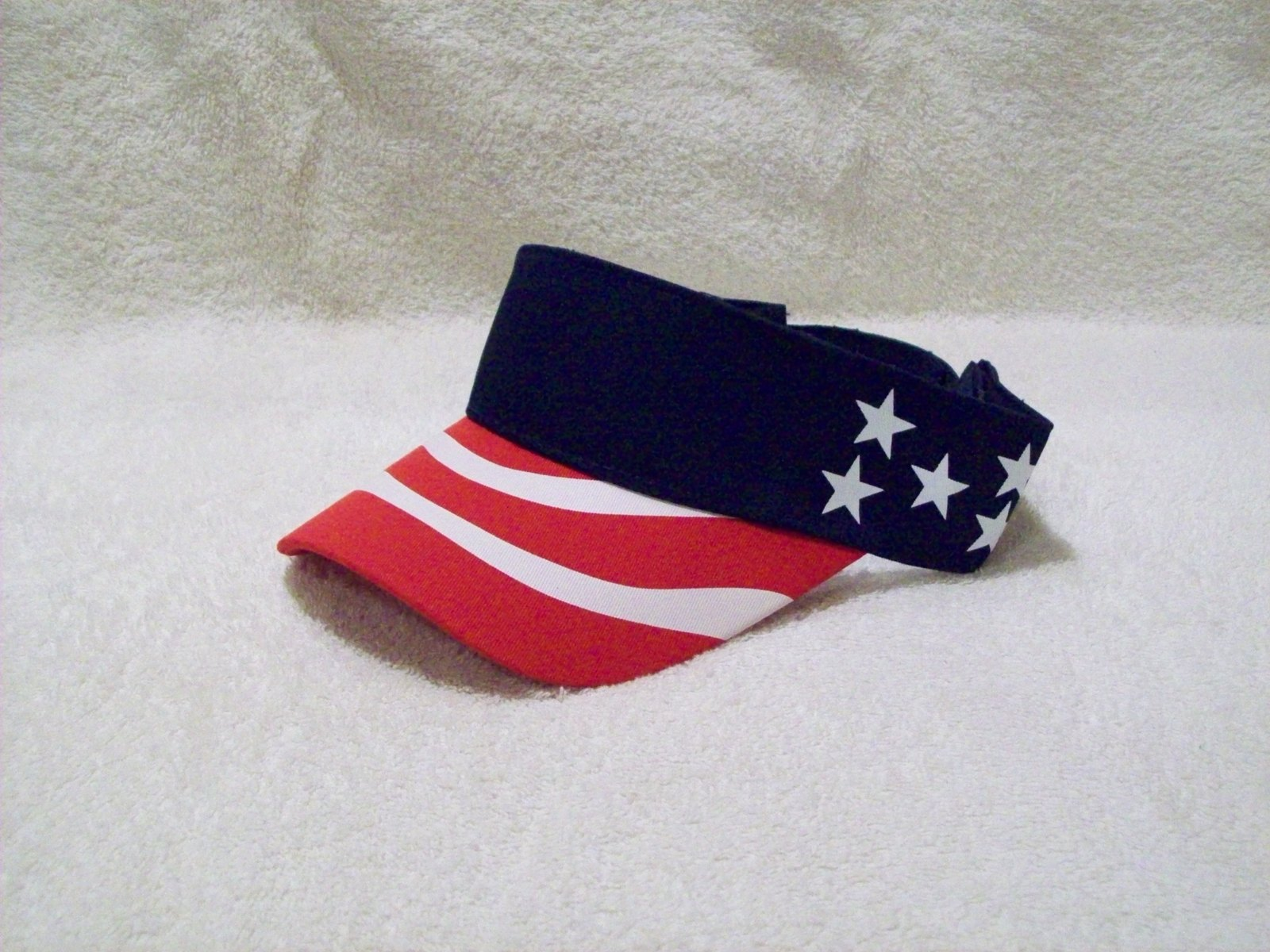 3c50f1374ef New Lot of 4 Pcs. Navy Blue US Flag Sun Fishing Golf Visor Hat Patriotic