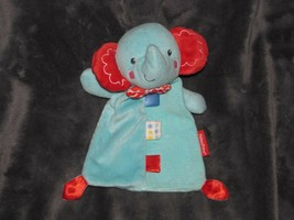 Fisher Price Baby Blue Elephant Rattle Stuffed Plush Toy Security Blanket Tags - $14.35