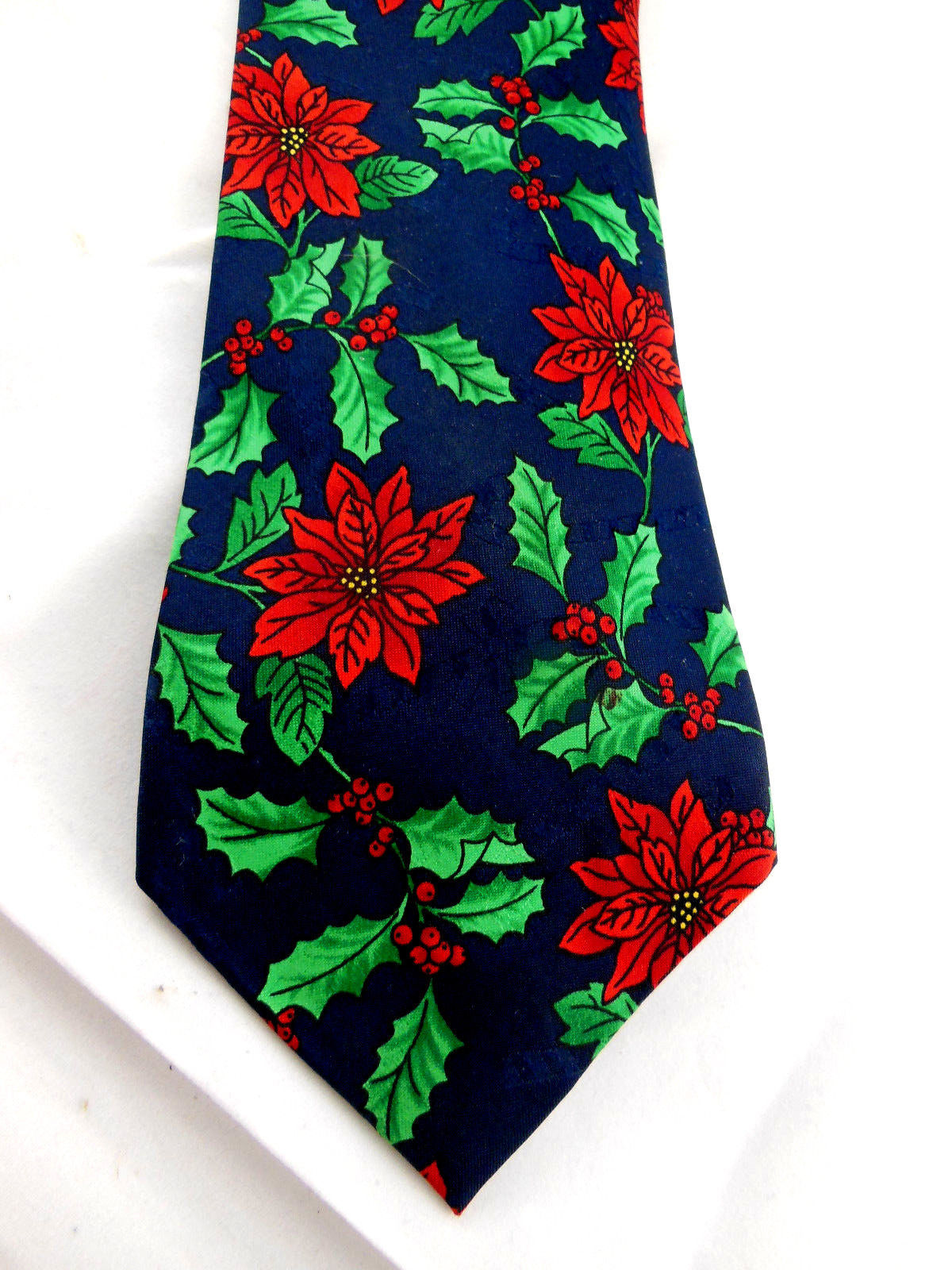 Christmas Holiday Poinsettia and holly Necktie Tie by Hallmark