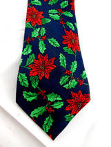 Christmas Holiday Poinsettia and holly Necktie Tie by Hallmark  - $8.90