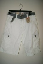 Levi's Boy's White Belted Cargo Shorts Size 16 Regular W28 Belted NWT - $18.00