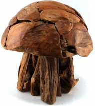 LARGE ARTISAN FOLK TEAK WOOD MOSAIC MUSHROOM SCULPTURE POP ART MID CENTU... - $280.00