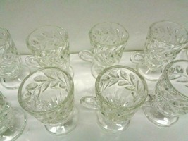 10 Rare Early Vintage Clear Crystal r Glass  Punch Bowl Cups With Leaf P... - $24.74