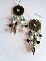 Oriental Themed  Mixed Media Charm Hook Earrings - $4.94