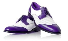 Handmade Men's White And Purple Brogues Style Leather Shoes image 5