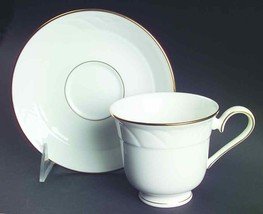 "LENOX ""SNOWDRIFT"" GOLD TEA SAUCER BONE CHINA MADE IN USA WHITE NEW WITH TAG - $24.50"