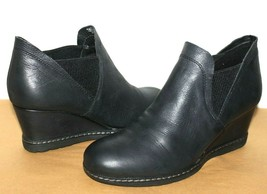 """❤️earth Catamount Black Leather 2.5"""" Wedge Ankle Boot 8.5 M Excellent! L@@K - $27.21"""