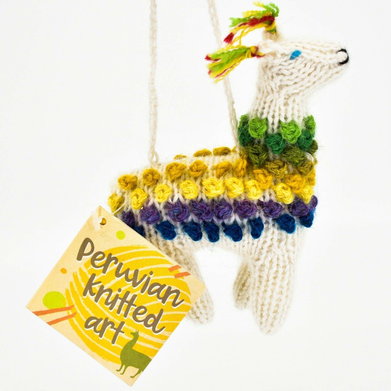 Handknit Alpaca Wool Whimsical Hanging Llama Ornament Handmade in Peru