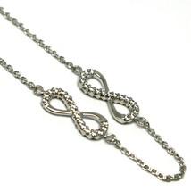 Bracelet or Blanc 18k 750, Chaîne Rolo, Symboles Infini, Zirconia Cubique image 2