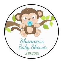 """30 Boy Baby Monkey Birthday Party Stickers Favors Labels round 1.5"""" Show... - $4.99"""