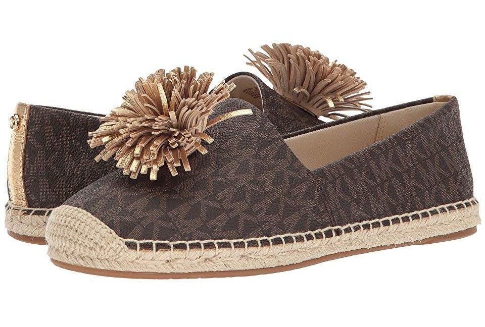 3ca2592ca031 Michael Kors Lolita Slip On Brown Mini MK Logo Coated Canvas Metallic Napa  -  99.00