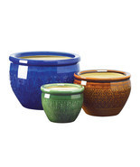 Pots Planters, Large Glazed Outdoor Planters, Ceramic Jewel-tone Flower ... - $80.27 CAD
