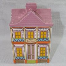 Avon Victorian Townhouse Tea Room Canister Cookie Jar Pink Lid White Bottom - $17.99