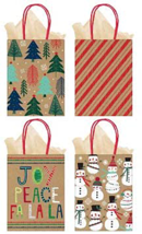Christmas Bags with Tissue Paper, 4 Styles Paper Bags Loots Favors 8PCS - $10.84