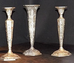 Candlesticks and Dutch Plate Trumpet Vase No. 53 Vil Antique Ornate image 1