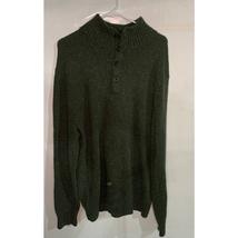 Gap mens dark green shawl button neck sweater cotton blend sz L - $48.51