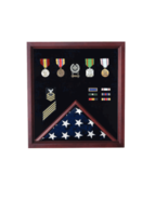 RETIREMENT FLAG AND BADGE MILITARY DISPLAY CASE SHADOW BOX - $626.99