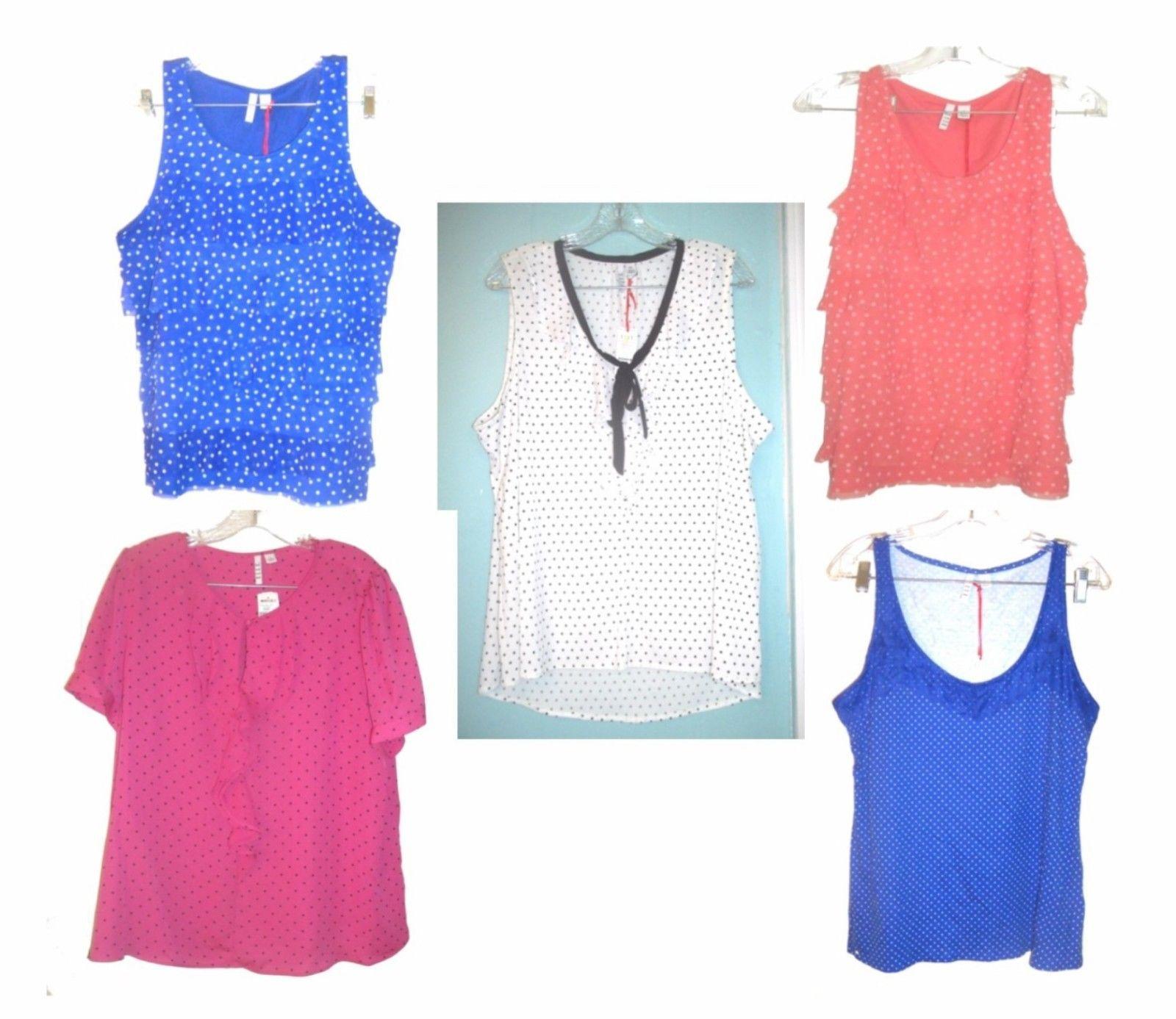 Elle Layered Chiffon & Lace & Ruffle Neck Polka Dot Tops NWT$34-$40 Size L-XL - $22.79 - $33.24