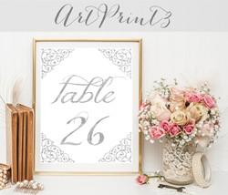 Printable Wedding Table Numbers 1 - 30, Silver Printable Table Numbers, ... - $10.00