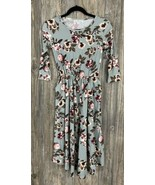 Bailey's Blossoms Dress XS Grey Floral Stretchy Pockets 3/4 Sleeve NWT - $17.80