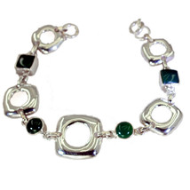 normaly 925 Solid Sterling Silver attractive genuine Green Bracelet gift UK - $28.57