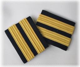 2 Bars Pilot Airline Marine Shoulder Rank Epaulet Slide Black Rayon Gold... - $14.25