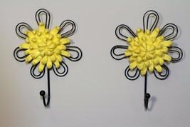 2Pcs Vintage Style Flower Ceramic Wall Hook Cabinet Holder Iron Coat Hoo... - $12.95