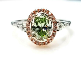 GIA 1.45ct Natural Argyle 7p Fancy Green & Pink Diamond Engagement Ring ... - $9,707.00