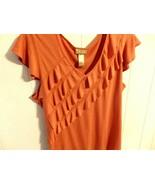 Wome XL 1X 14 16 Blous Sleev V Overlay Pullove T Shirt Orang Ruffl Solid... - $9.91