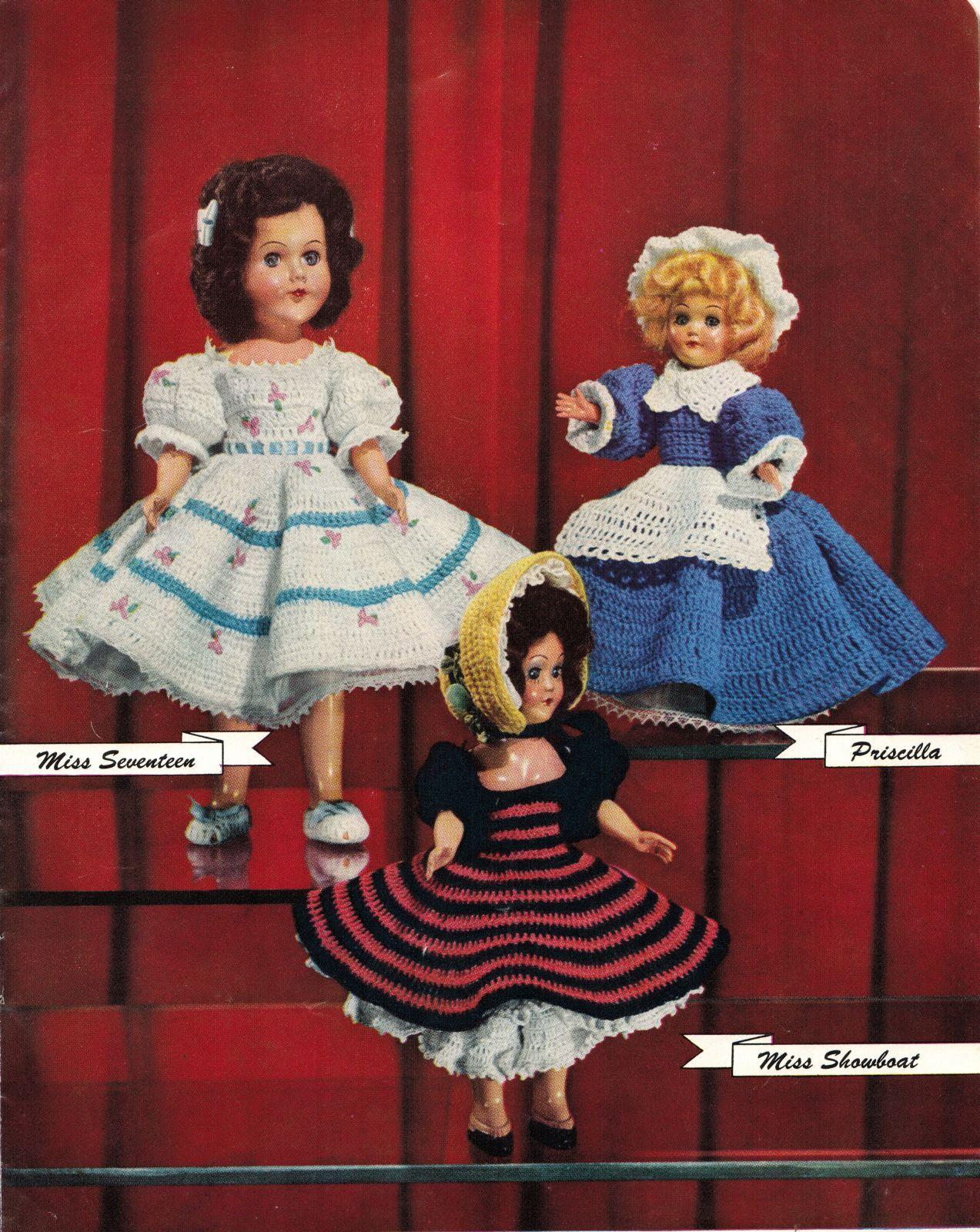 "Vtg 1952 8"" 11"" Americas State Dolls Costume Clothes Georgia Rio Crochet Pattern image 6"