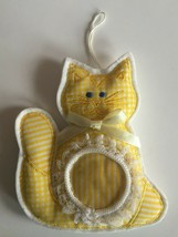 Cat Christmas Tree Ornament Photo Holder Soft Yellow Plaid Country Chic ... - $8.49