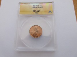 1970-S Lincoln Cent , ANACS , MS 63 , Large Date . RED - $35.00